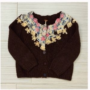 Free People | Beaded Knit Wool Cardigan
